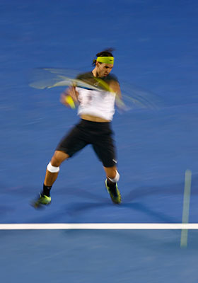 Nadal poonding forehand at the Asutralian Open 2009