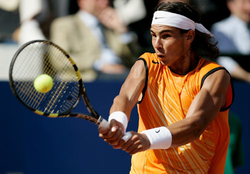 Nadal drives the ball when up and away